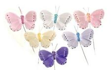 "Artificial Feather Butterfly 3"" 24 Fake Butterflies Party Decorations BF776 X 24"