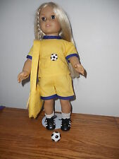 SOCCER OUTFIT WITH  MATCHING BAG FITS AMERICAN GIRL DOLL   YELLOW  NEW