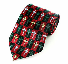 Christmas Celtic Cross Mens Necktie Religious Christian Holiday Red Neck Tie New