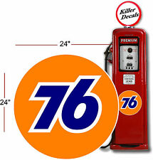"(UNIO-1) 24"" UNION 76 GASOLINE GAS PUMP OIL TANK DECAL by Unocal"