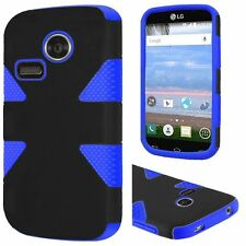Black on Blue 2Layer Dynamic Case Cover For LG Sunrise L15G Lucky L16C Phone