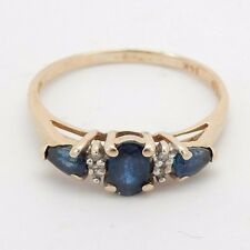 14k Yellow Gold Ring with 3 Blue Sapphires Size 9.75 Sku 7.1.26.20