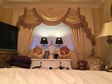 DESIGNER CURTAINS SWAGS & TAILS SAND Or CREAM TASSELED