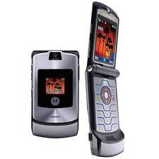 Motorola RAZR V3 Grigio Sbloccato Flip Cellulare nuova condizione con accessori