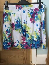 White Skirt With Purple Lime Green And Blue Floral Pattern Plus Size 16 By Evie