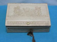 Antique Paper Cardboard Gift Box Victorian Look Cherubs Snap Tassel 6' x 8""