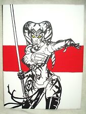 Canvas Painting Star Wars Darth Talon Angry Stripe Red Art 16x12 inch Acrylic