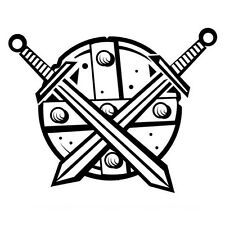 VIKING SHIELD AND SWORDS CAR DECAL STICKER