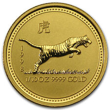 1998 1/10 oz Gold Lunar Year of the Tiger BU (Series I) - SKU #9001