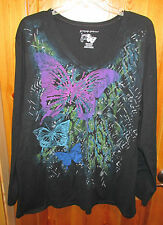 JMS JUST MY SIZE PLUS SIZE 4X 26W 28W TEE SHIRT TOP Black with Glitter Butterfly