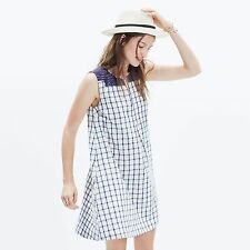 NWT Madewell M Sunray Embroidered Shift Shirt Dress Blue Ivory Check Linen Blend