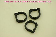 """3 x VINTAGE BICYCLE 1"""" 25.4mm BLACK PLASTIC BIKE BRAKE GEAR CABLE CLIPS 80'sMADE"""