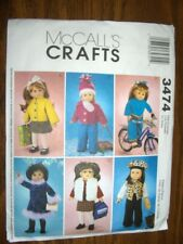"18"" DOLL NEW McCalls 3474 Pattern Winter Clothes Fits American Girl"