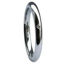Venta 2mm 950 Palladium Diamante Anillo De Boda Tribunal forma 2.2g Reino Unido 750 HM USA 6 M @