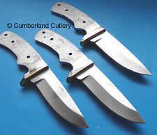Lot of 3 Knife Making Blade Blanks with Brass Finger Guards