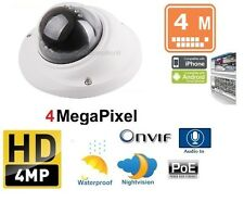 4MP Mini Dome WDR IR PoE IP Camera with Audio, 2.8mm Lens, Weatherproof IP66