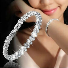 Fashion Women Zircon Crystal Roman Chain Clear Rhinestone Bangle Bracelet Gift