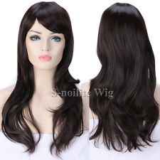 Fashion Ombre Black Pink Cosplay Wig Long Curly Wavy Straight Women Lady Wigs 0m
