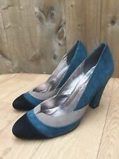 Womens Ravel Blue Beige & Black Suede Leather Court Shoes - UK 6 EU 38 UNWORN!