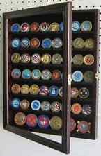 56 Military Challenge Coin Display Case Cabinet Rack Holder, with door - Finish