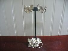 Vintage Estate Judy Lee ClipOn Silvertone Metal Leaf Earrings & Matching Brooch