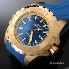 Invicta Pro Diver Gold IP Stitched Polyurethane Strap Blue Dial 52mm Men's Watch