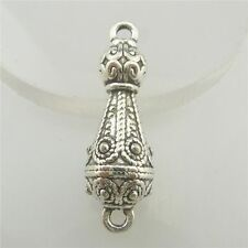 19672 10pcs Vintage Silver Alloy Totem Flower Leaf Tower Pendant Connector Charm