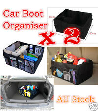 2 x Car Boot Organiser Partition Collapsible Storage Box Trunk Bag Heavy Duty