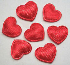 Cute Padded Satin Heart appliques x140 Red -Craft/Cardmaking