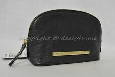 NWT! Brahmin Tina Cosmetic Case/ Makeup Pouch in Black Nepal Soft Pebble Leather