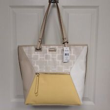 New Nine West Paige Large Tote, Jacquard Yellow Color Block, Nickel Hardware