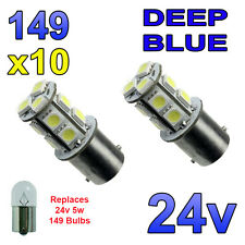 10 x Blue 24v LED BA15s 149 R5W 13 SMD Number Plate Interior Bulbs HGV Truck