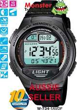 AUSSIE SELLER CASIO GENTS W-734-1AV W734 60 LAP MEMORY 12-MONTH WARRANTY