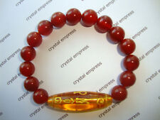 FENG SHUI - CITRINE MANTRA DZI WITH 10MM RED AGATE