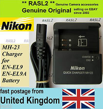 Genuino Original NIKON MH-23 Cargador para EN-EL9 una D40 D40X D60 D3000 D5000