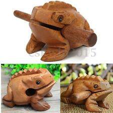 Thailand Traditional Craft Wooden Lucky Frog + Drum Stick for Home Office Decor