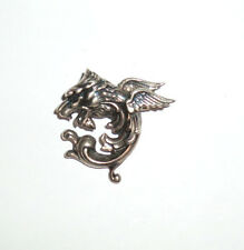 Vintage Nouveau Sterling Griffin Gryphon Dragon Gargoyle Pin Brooch Signed ASCO