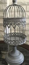Gorgeous Antique Sliver Look Iron Bird Cage on Stand