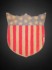 ANTIQUE 1917 AMERICAN FOLK ART FLAG SHIELD PAINTING ABE LINCOLN NAPERVILLE IL