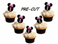minnie mouse 1st birthday X24 edible stand up cup cake toppers wafer paper cut