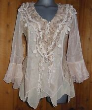 NWT PRETTY ANGEL blouse shirt tunic BOLERO MED GYPSY ruffles & lace VINTAGE CAR.