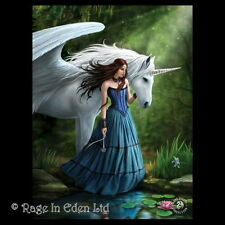 *ENCHANTED POOL* Gothic Fantasy Unicorn Art 3D Postcard By Anne Stokes (15x10cm)
