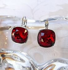 Red Drop Leverback Earrings made w/ Cushion Cut Swarovski Crystal 4470 NEW