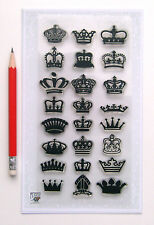 "Clear Stamps Lot (4""x7"") Small Crowns Engraving FLONZ Vintage Rubber Stamps 043"