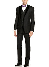 NWT $650 TALLIA  40 R Charcoal Striped 3pc Two Button Men's Designer Wool Suit