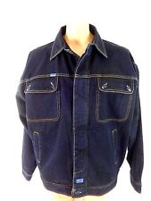FUBU MENS DARK WASH BLUE DENIM JACKET SIZE L
