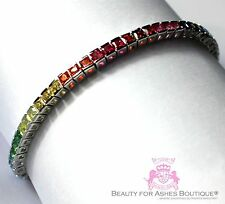 "8"" Sterling Silver Wh. Gold Plated 925 God's Promise Rainbow Cz Tennis Bracelet"