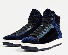 New Zara Men Hi-Cut Shoes Blue Velvet Lace Quilted 6 Faux Leather Accent Hi-Top