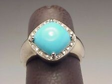 DESIGNER Diamond RINA LIMOR 18k White Gold Turquoise Estate Ring 7.9 Grams