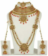 Indian Bollywood Red Bridal Polki Jewelry Kundan Women Necklace set 3149